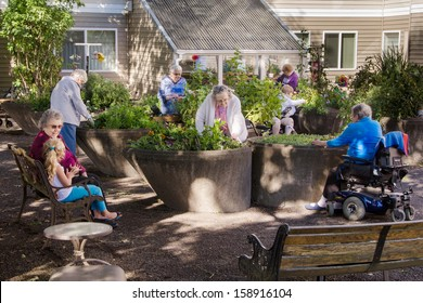 Residents of an assisted-living facility tend their gardens in wheelchair accessible containers.