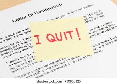 Resign quit notice on sticky note resignation letter