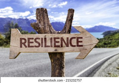 Resilience sign with a road background