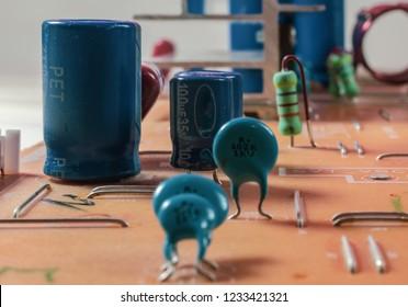 resistors and capacitors on circuit board