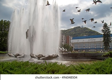 RESITA, ROMANIA - JUNE 20, 2016: Kinetic fountain located in the central square of Resita. Creation of sculptor Constantin Lucaci, was inaugurated on 23 August 1984.