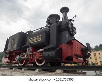 Resita/Romania - August 20 2017: Resicza steam locomotive displayed in the locomotives museum. This is the first locomotive built here in 1872.