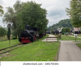 Resita/Romania - August 20 2017: Steam locomotive at the locomotives museum. The museum contains locomotives produced at Resita.