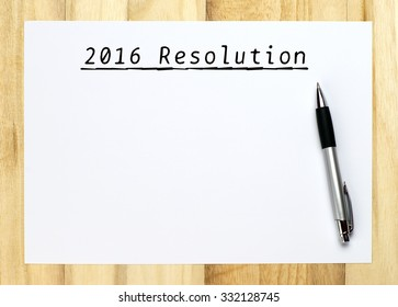 Resolutions for 2016, handwriting on empty paper