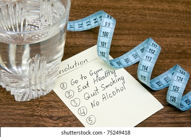 resolutions for healthy life,glass of water and measure tape