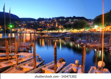 The resort of Ascona on Lake Maggiore in the canton of Ticino, Switzerland at twilight.