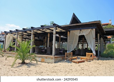 Resort. Bar on the beach. Bulgaria.