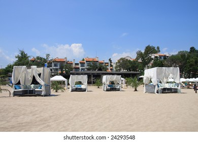 Resort. Bar and tents on the beach. Bulgaria.