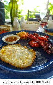 Resort Breakfast of Fried Egg and Tocino Pork - Panglao - Bohol, Philippines