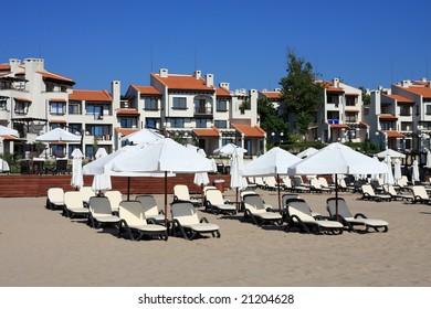 Resort. Buildings and beach. Summer.