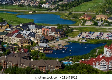 Resort buildings and ponds in Blue Mountain village in Collingwood, Ontario