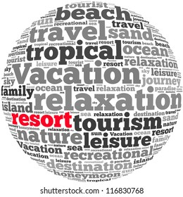 Resort info-text graphics and arrangement concept on white background (word cloud)