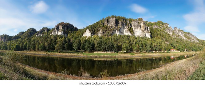 The resort Rathen in the Elbe Sandstone Mountains in the Saxon Switzerland
