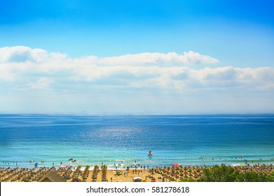 Resort Sunny Beach Bulgaria view of the beach in summer. Panoramic top view Sunny Beach Bulgaria. The boat into the sea