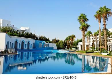 Resort Swimming Pool. Shot with circular polarizer filter.