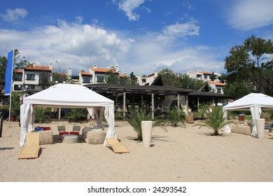 Resort. Tents to relax on the beach. Bulgaria.