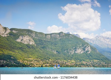 The resort town of Annecy near the lake. Rhone Alps, Department of Haute-Savoie. France.