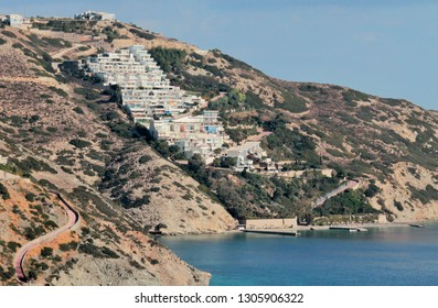 Resort town on the mountain near the coast of the clear blue sea, clear sky, panoramic view