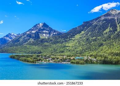 The resort town at Waterton Lakes National Park in Alberta, Canada