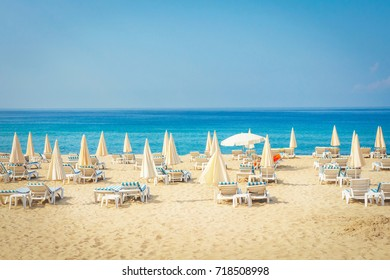 Resort tropical sea beach. Summer vacation on beach in Turkey. Alanya beach.