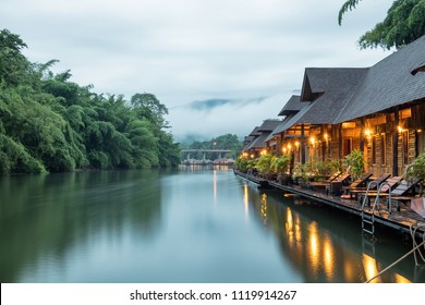 Resort wooden house floating and mountain fog on river kwai at sai yok,kanchanaburi,thailand