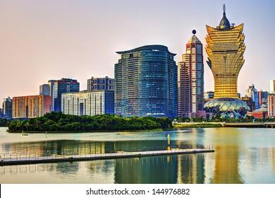 Resorts and casinos at Nam Van Lake in Macau S.A.R, China.