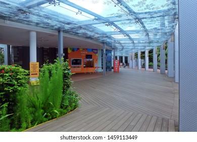 Resorts World Sentosa, Singapore - July 23, 2019: Portrait of indoor sidewalk in Resorts World Sentosa Singapore.