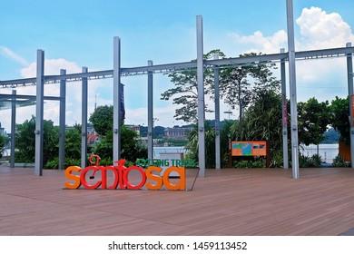 Resorts World Sentosa, Singapore - July 23, 2019: Portrait of outdoor sidewalk in Resorts World Sentosa Singapore.