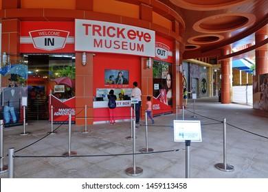 Resorts World Sentosa, Singapore - July 23, 2019: Portrait of Trick Eye Museum in Resorts World Sentosa Singapore.