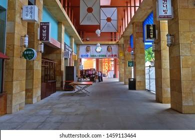 Resorts World Sentosa, Singapore - July 23, 2019: Portrait of the hallway in Resorts World Sentosa Singapore.