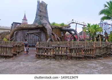 Resorts World Sentosa, Singapore - July 23, 2019: Portrait of King Julien's Beach Party-Go-Round with sky background in the theme park of Universal Studios Singapore.