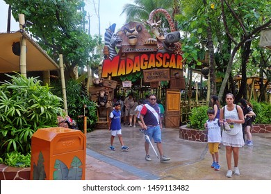 Resorts World Sentosa, Singapore - July 23, 2019: Madagaskar: A Crate Adventure in the theme park of Universal Studios Singapore.