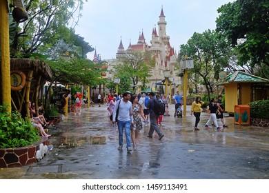 Resorts World Sentosa, Singapore - July 23, 2019: Portrait of Shrek castle with sky background in the theme park of Universal Studios Singapore.