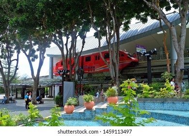 Resorts World Sentosa, Singapore - July 23, 2019: Portrait of red monorail as one of public transportation in Resorts World Sentosa Singapore.