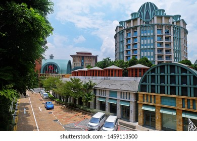 Resorts World Sentosa, Singapore - July 23, 2019: Portrait of lively property with 6 themed hotels in Resorts World Sentosa Singapore.