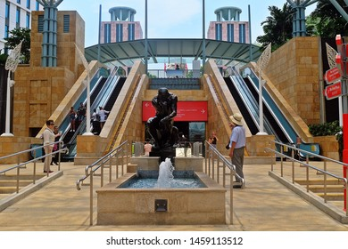 Resorts World Sentosa, Singapore - July 23, 2019: Portrait of black man statue in Resorts World Sentosa Singapore.