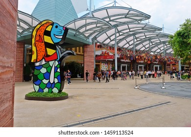 Resorts World Sentosa, Singapore - July 23, 2019: Portrait of Merlion icon in Resorts World Sentosa Singapore.