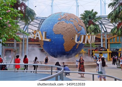 Resorts World Sentosa, Singapore - July 23, 2019: Portrait of Universal Studios Globe sign in Resorts World Sentosa Singapore.