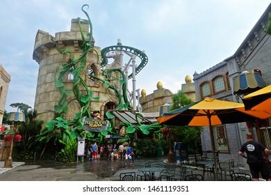Resorts World Sentosa, Singapore - July 25, 2019: Portrait of Shrek 4-D Adventure in the theme park of Universal Studios Singapore.