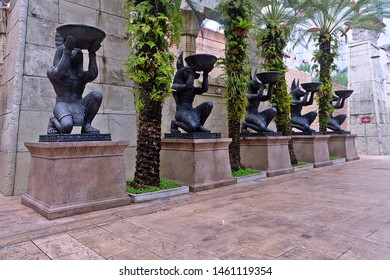 Resorts World Sentosa, Singapore - July 24, 2019: Portrait of Ancient Egypt statues in the theme park of Universal Studios Singapore.