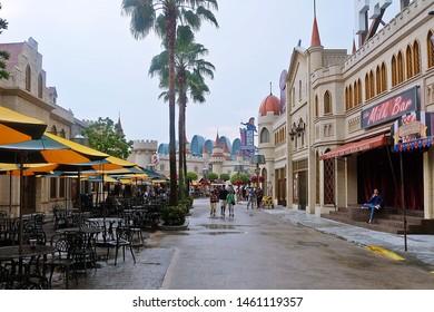 Resorts World Sentosa, Singapore - July 25, 2019: Portrait of Far Far Away areas in the theme park of Universal Studios Singapore.