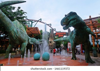 Resorts World Sentosa, Singapore - July 24, 2019: Portrait of Jurassic Park in the theme park of Universal Studios Singapore.
