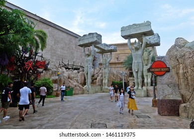 Resorts World Sentosa, Singapore - July 24, 2019: Portrait of Ancient Egypt area in the theme park of Universal Studios Singapore.