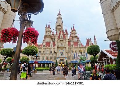 Resorts World Sentosa, Singapore - July 24, 2019: Portrait of Shrek castle with sky background in the theme park of Universal Studios Singapore.