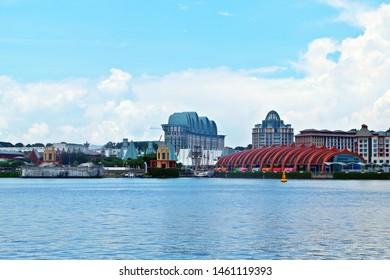 Resorts World Sentosa, Singapore - July 25, 2019: Portrait of Resorts World Sentosa with sky and sea in background.