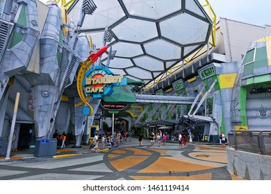 Resorts World Sentosa, Singapore - July 24, 2019: Portrait of StarBot Cafe in the theme park of Universal Studios Singapore.