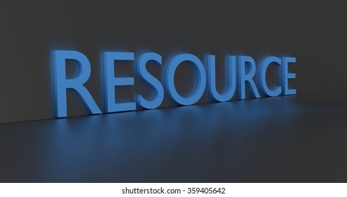 Resource concept word - blue text on grey background.
