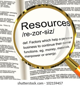 Resources Definition Magnifier Shows Materials Assets And Manpower For A Business