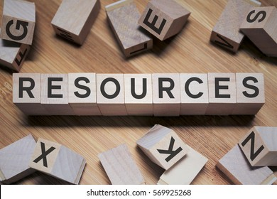 Resources Word In Wooden Cube