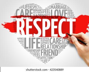 Respect concept heart word cloud